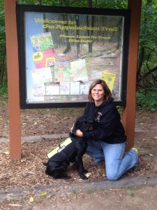 Wendy on one of her many trips to Virginia and West Virginia for training with Debby Kay, her scent training mentor.